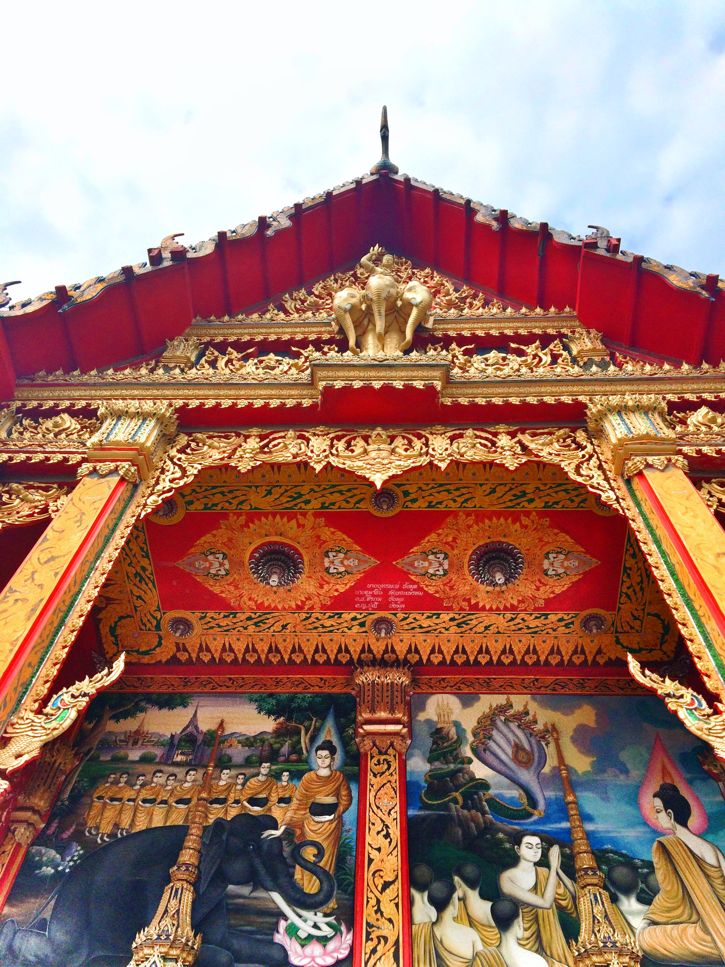 Thailand's national symbol is the elephant. There were three adorning this thai temple and it was so beautiful!