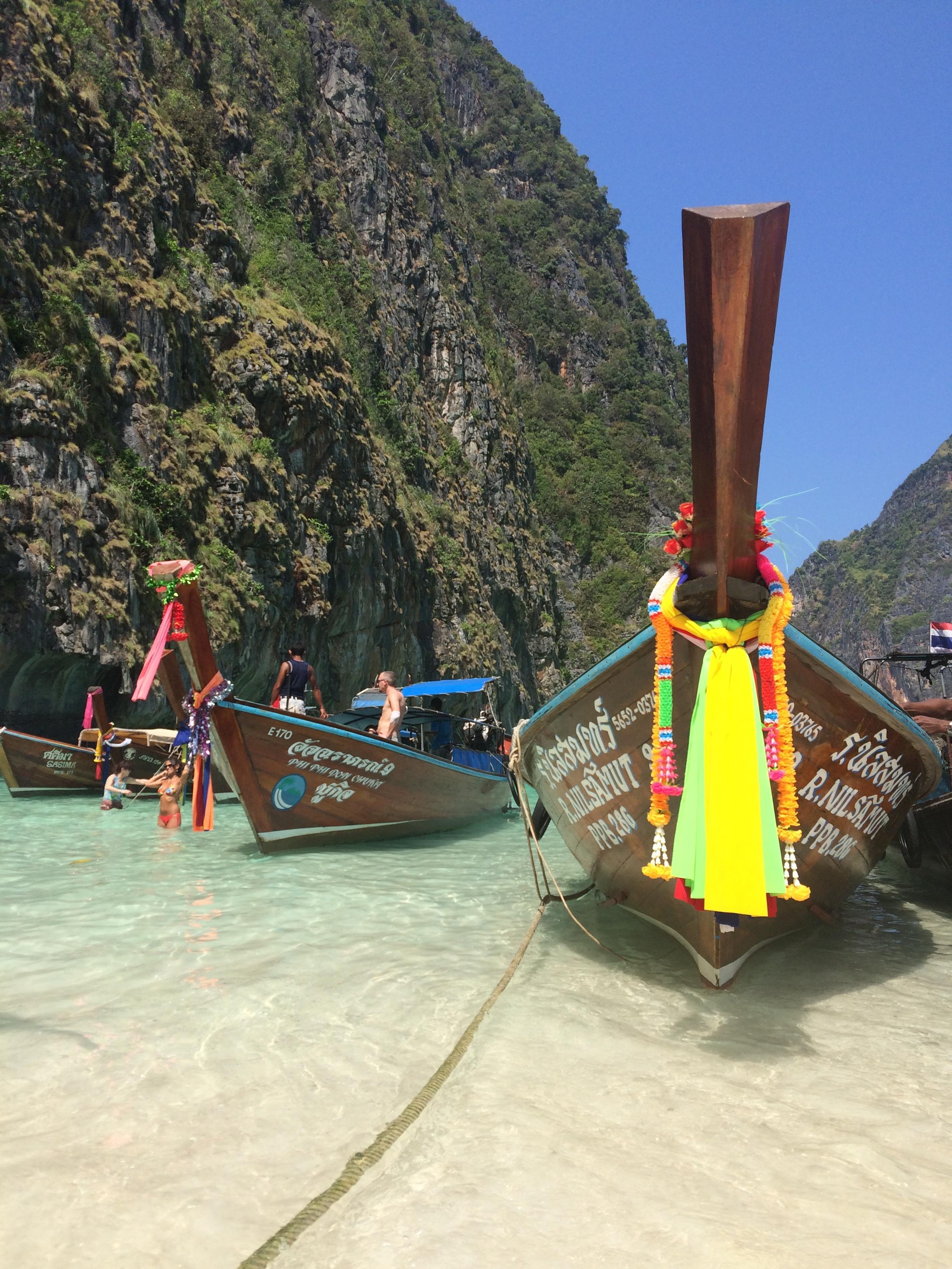 Thai fishing boats at Maya Bay