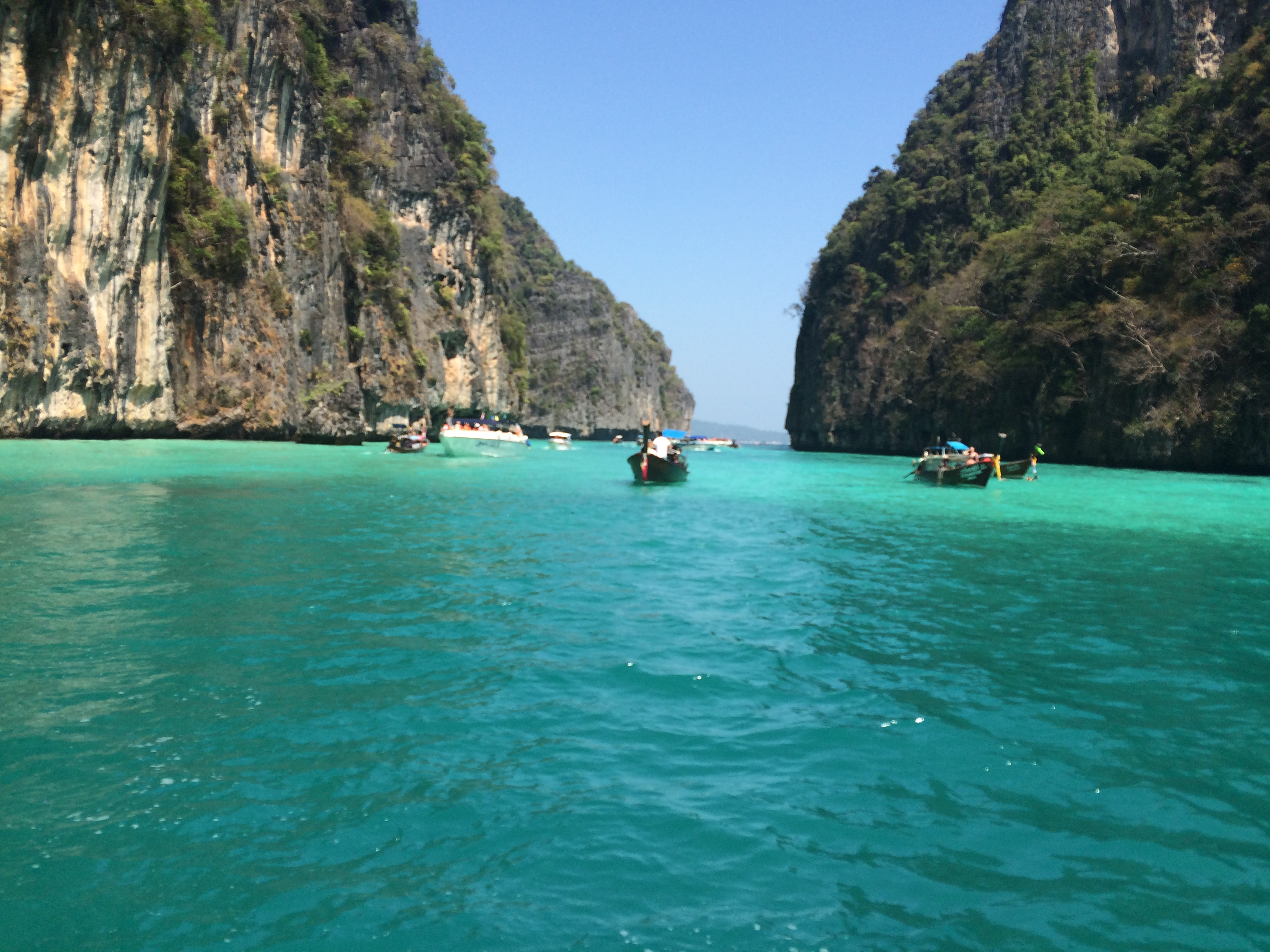 I spent the day boating to the Phi Phi islands.