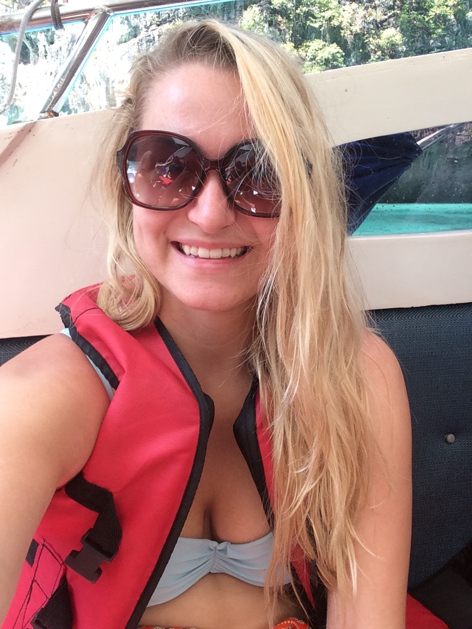 On the boat headed to the Phi Phi islands wearing this gorgeous life jacket!