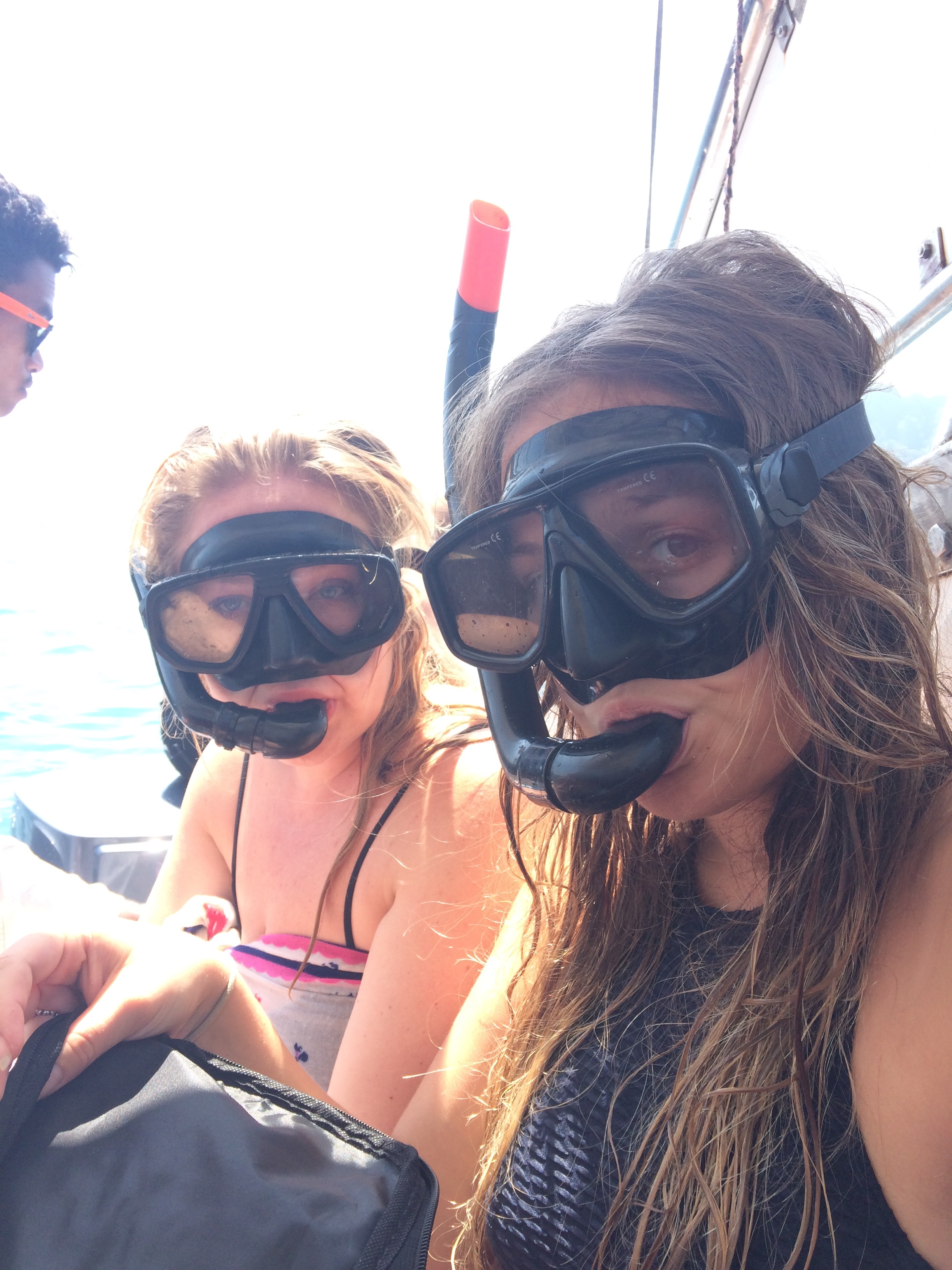Kathryn and Camilla taking this snorkel business very seriously.