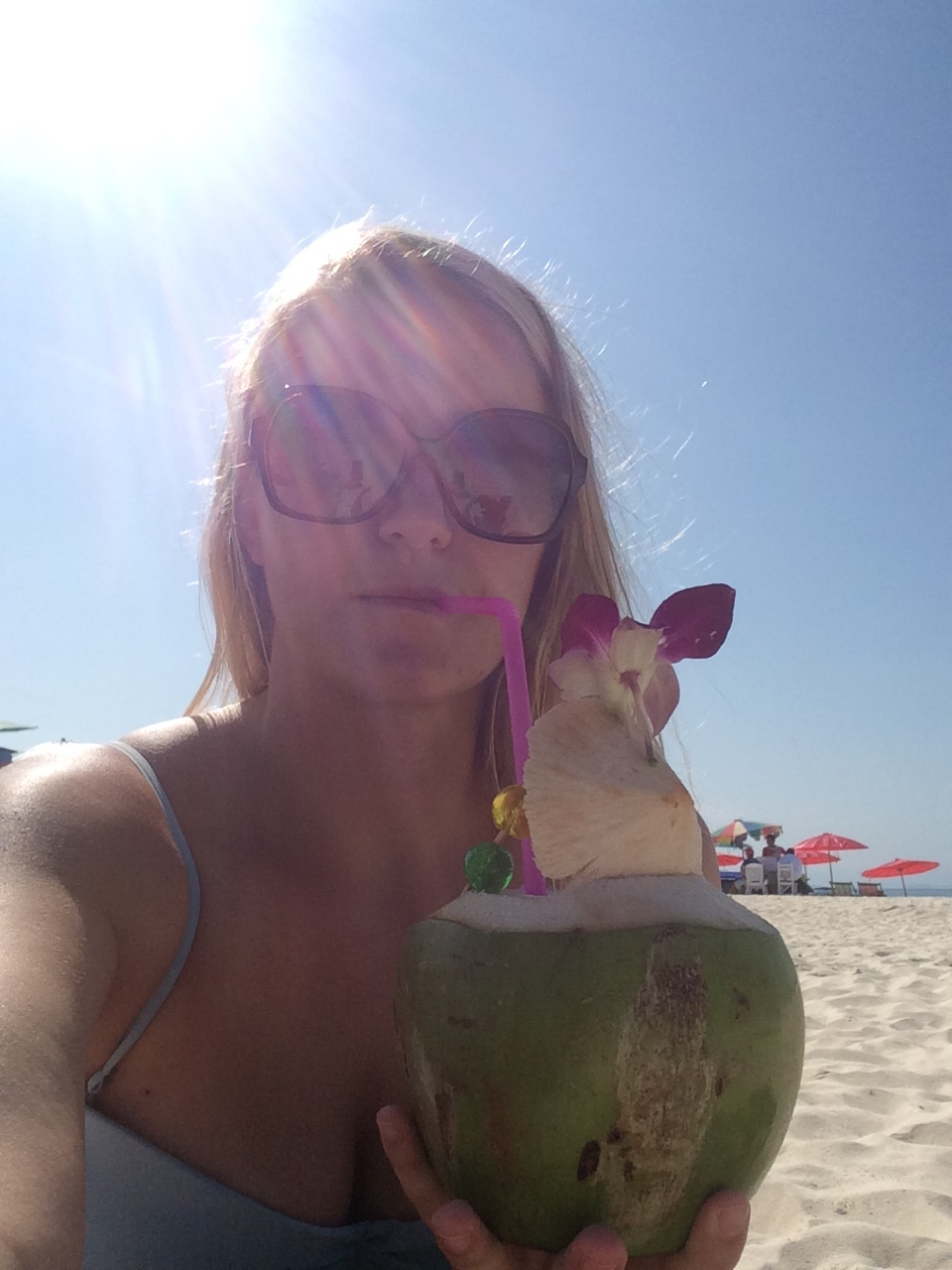 I drank a piña colada from a coconut on the beach. Someone pinch me.